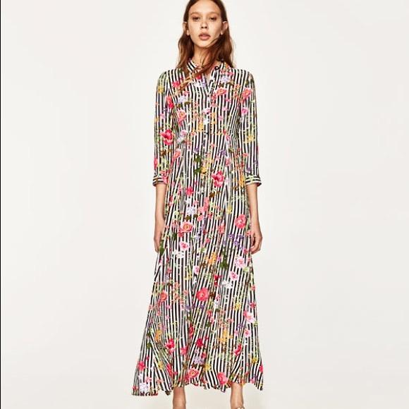 a12de4703a36 Zara Dresses | Nwt Striped And Floral Maxi Button Down Dress | Poshmark